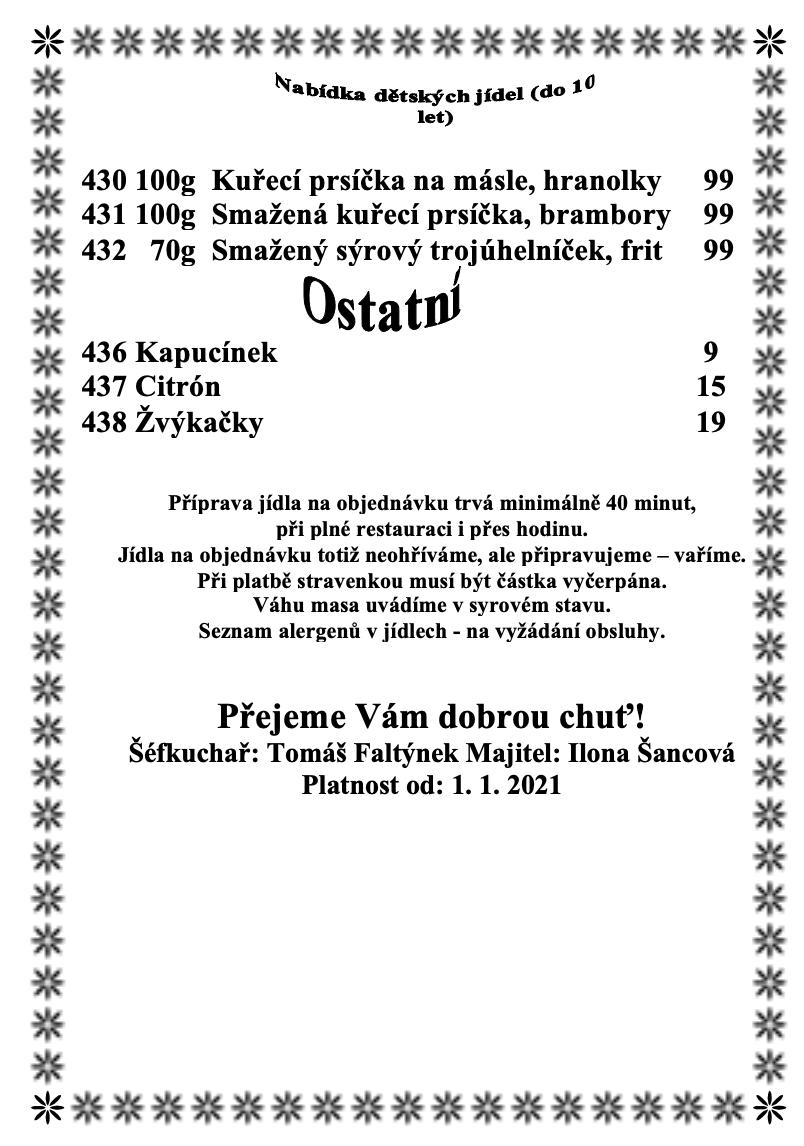 Jídelní lístek podspilberkem.com